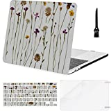 MacBook Air 13 Inch Case Pressed Wild Flowers Isolated On White MacBook Air11 Case MacBook Pro13 Pro15 Plastic Case Keyboard Cover & Screen Protector & Keyboard Cleaning Brush