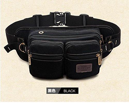 ZYT Poitrine de l'homme sac d'épaule casual hommes vague de sports de plein air sacs Messenger en toile poches multifonctions . black