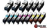 Laser Tek Services Compatible Ink Cartridge Replacement for Canon PGI-220 CLI-221 PGI-220BK CLI-221BK CLI-221C CLI-221M CLI-221Y (Pigment Black, Black, Cyan, Magenta, Yellow, 15-Pack)