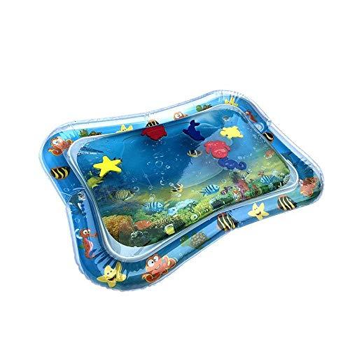 TEELONG Aufblasbare Babywassermatte Fun Activity Play Center für Kinder und Kleinkind Wasser Gefüllt Spielmatte Wassergefüllte Playmat für Kinder Kissen Pat Schutz (Blue)