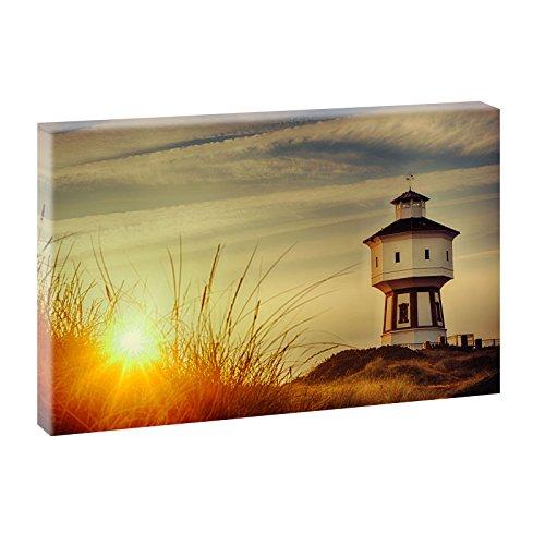 Langeoog - Wasserturm | Panoramabild im XXL Format | Kunstdruck auf Leinwand | Wandbild | Poster | Fotografie | Verschiedene Formate und Farben (100 cm x 65 cm, Farbig)