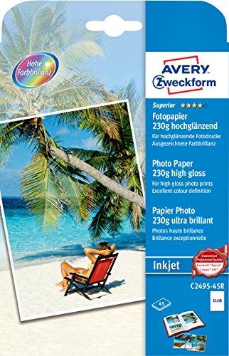 AVERY Zweckform C2495-45R Superior Inkjet Fotopapier (13 x 18, einseitig beschichtet, hochglänzend, 230 g/m²) 45 Blatt