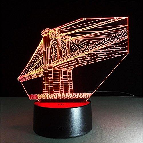 Veilleuses Illusions Optiques Lampe pont bureau 3D Crystal 7 couleurs Changement tactile interrupteur à distance Tableau de commande LED Night Light Lighting Décoration Accessoires pour la maison