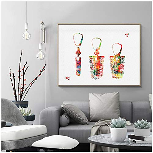 sjkkad tandimplantaat aquarel poster kunstdruk tand anatomisch kantoor decor medische canvasdruk wandafbeeldingen medische 60x80 cm geen lijst
