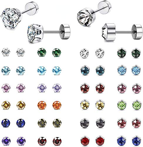 Milacolato 24Pairs CZ Stud Earrings for Women Men 316L Stainless Steel Multicolor Cubic Zirconia Screwback Earrings Set Cartilage Piercing Barbell Screwback Assorted Colors Earrings