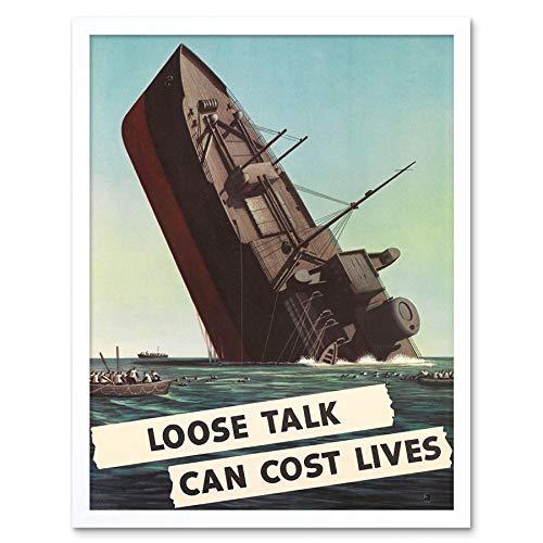 Wee Blauwe Coo Propaganda Oorlog Wwii Usa Schip wastafel Losse Talk Art Print Ingelijste Poster Muurdecoratie 12X16 Inch