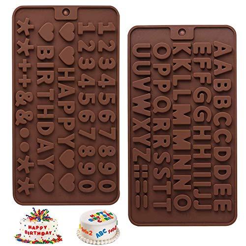 Letras Chocolate Molde,COTEY 2Piezas Moldes Silicona Alfabeto Número,Decoración en Tartas de Cumpleaños, Utilizada para Chocolate Congelado, Cubitos de Hielo, Hacer Símbolos de Feliz Cumpleaños