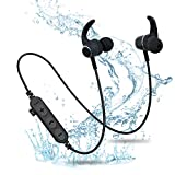 Vigros Bluetooth Headphones with TF SD Card Slot,Magnetic Wireless Sports in Ear Earbuds Headsets with Mic, Wireless Bluetooth 5.0 Magnetic Sports Headset Waterproof Outdoor (Black)