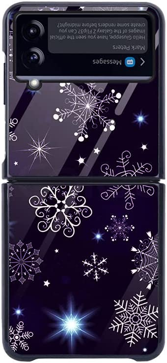 Baitengxin Color Large Square Glass Folding Screen Phone Case, Compatible with Samsung Galaxy Z Flip 3 5G,B
