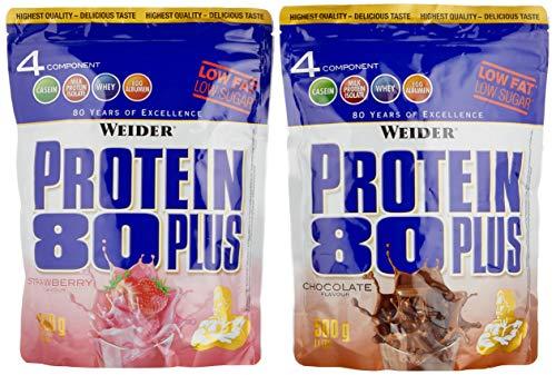 WEIDER Protein 80 Plus Eiweißpulver, 2 Pack Mixed, Shocko/Erdbeer, Low-Carb, Mehrkomponenten Casein Whey Mix für Proteinshakes, 2x500g