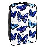 Caja de almacenamiento para zapatos de viaje y uso diario, marcadores de mariposa, organizador portátil impermeable hasta 12 yardas con doble cremallera y 4 bolsillos