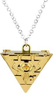 OfficialOtaku Yu-Gi-Oh Yugioh Millennium Puzzle Pyramid Pendant Chain Cosplay Necklace - Metal (1.1 oz) Gold