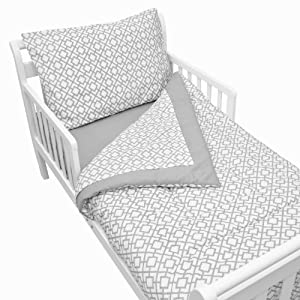 crib bedding and baby bedding american baby company 100% cotton percale 4-piece toddler bedding set, gray lattice, for boys and girls