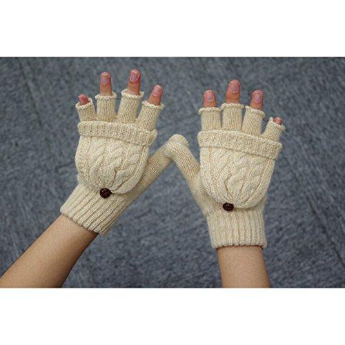 UEETEK Women Winter Warm Wool Knitted Convertible Fingerless Gloves With Mitten Cover (Beige)