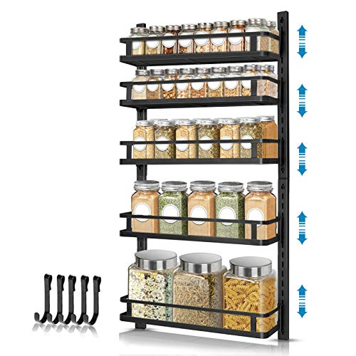 Wall Mount Spice Rack Organizer AHNR 5 Tier Height-adjustable Spice Shelf Storage Wall Spice Rack Hanging Spice Organizer with 5 Hooks Dual-use Seasoning Shelf Rack for Kitchen Cabinet Pantry Door