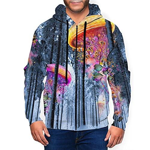 Sudadera con capucha para hombre con cremallera completa con capucha y diseño clásico con capucha, New Winter Forest Of Electric Medusas World Black, XXXL