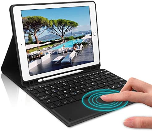 Keyboard Case 9 7 inch Touchpad Bluetooth with Pencil Holder Compatible with iPad 2018 6th Gen product image