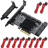 MZHOU Scheda di espansione PCI-E SATA, 10 Porte PCI Express SATA Controller Card, 6 Gbps S...