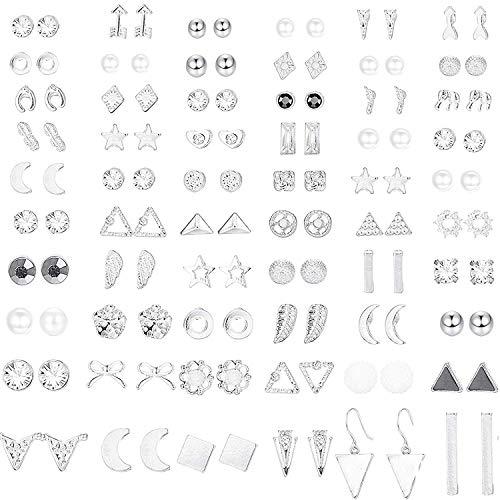 CASSIECA 60 pares Pendientes para Mujeres niñas Aretes Geométricos Bola Pequeña Estrella Luna Triángulo Flecha CZ Pendientes Perla Artificiales Set