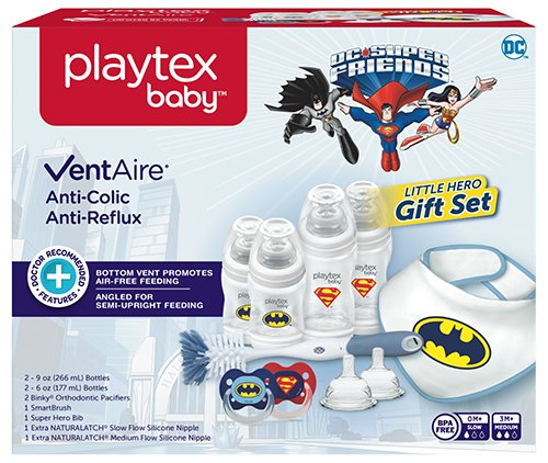 Playtex Baby VentAire Little Hero Gift Set for Boys, Includes Anti-Colic Feeding...