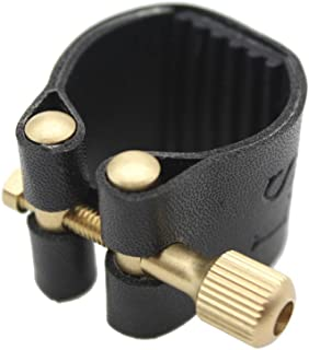 Andoer Artificial Leather Compact Durable Ligature Fastener for Alto Sax Saxophone Rubber Mouthpiece
