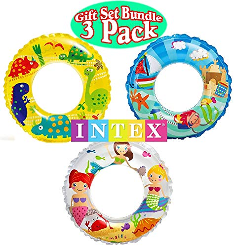 Intex Ocean Reef Transparent Swim Rings Dinosaurs,Mermaid Andbeach Gift Set Bundle-3 Pack