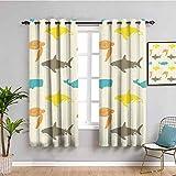 Decoración de animales de mar cortina patrón con ballena traer belleza tiburón y tortuga acuario decorativo estilo Doodle W63 x L63 pulgadas