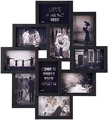 Makitesy Marco de Fotos de Madera con Apertura múltiple y Capacidad para 10 Fotos de 15 x 10 cm, Marco de Pared para Collage...