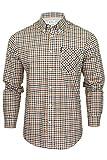 Ben Sherman Camisa de cuadros texturizada para hombre con bolsillo en el pecho