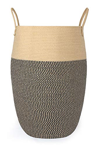 Large Woven Laundry HamperBedroom Wicker Thickened Collapsible Tall Rope Dirty Clothes BasketRound Rolling Mesh Foldable Storage Bin for Nursery Brown Black