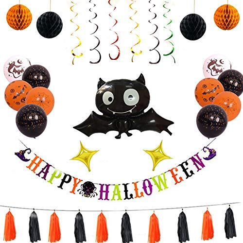 CGY Halloween Party Decoratie Latex Ballonnen Banner Spider Bat Pompoen Spookfolie Ballon Zwart Oranje Kwastje Latex Ballon voor Halloween Bar Home Decor benodigdheden