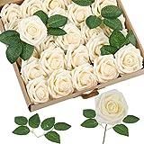 Homcomodar Künstliche Rose 30Pc Künstliche Blume Gefälschte Rosen für Die Hochzeit (Champagner)