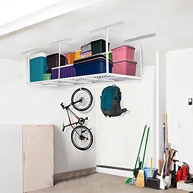 FLEXIMOUNTS 3x8 Overhead Garage Storage Rack Adjustable Ceiling Storage Rack Heavy Duty, 96  Length x 36  Width x 40  Height, White