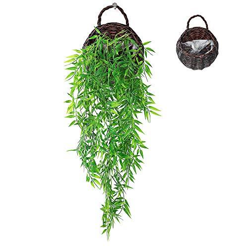 ANZOME - Cesta de vid artificial para colgar plantas falsas para colgar en el hogar, pared interior, exterior, boda, fiesta, jardín, cesta colgante, Hojas de bambú, marrón oscuro, Bamboo Leaves