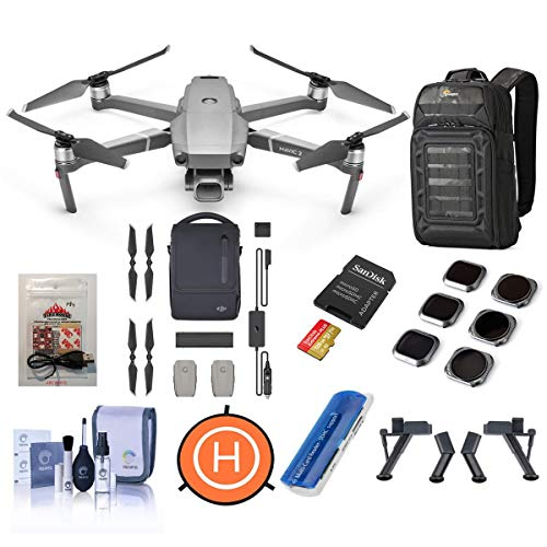DJI Mavic 2 Pro Drone - Bundle with FS Landing Gear Legs, Drone Landing Pad, 128GB microSDXC Card, Mavic 2 Fly More Kit, Lowepro BP 200 Backpack, ARC White Strobe, Lens Filters 6 Pack and More