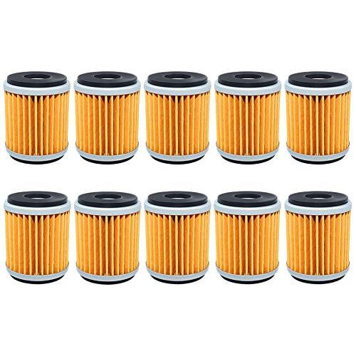 Filtro de aceite para YAMAHA YZF R125 YBR250 YFM250 XT250 WR125R WR125X WR250R WR250X WR250F YZ250 YZ250F YZ450F WR450F YFZ450 (Color : 10pcs yellow)