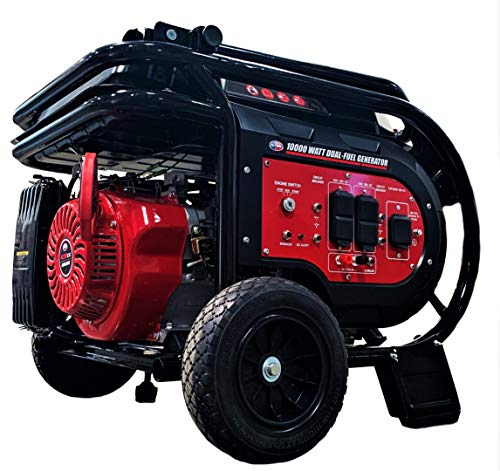 All Power America G10000EGL 10000 Watt Dual Fuel Heavy Duty Portable Generator w/ Electric Start, Gas/Propane, Power Back Up, Black