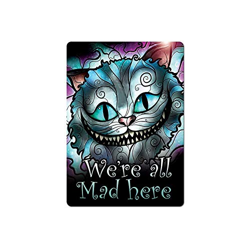 Metal Wall Sign - Cheshire Cat Stained Glass- We're All Mad Here,Vintage Aluminum Metal Signs Tin Plaque Wall Art Poster For Home Decor 12