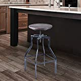 Armen Living lccostsbpi Concord Verstellbarer Barhocker in Kiefer Holz und Industrial grau Metall Finish