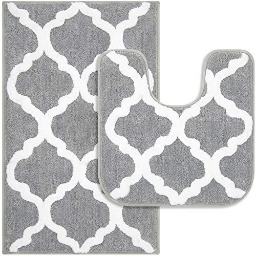 Pauwer Mikrofaser Badematten und Toilettenmatte Rutschfester saugfähiger Badezimmerteppich Waschbarer Maschinenbadeteppich (Grau, 53x86cm + 50x50cm)