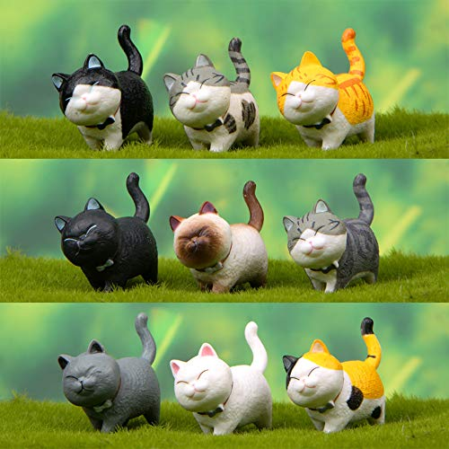 Tofover Miniatur-Gartenzubehör, 12 Stück Katzen, Mikro-Pflanztöpfe, Feengarten, Ornament, Landschaftsbau, Dekoration, Miniatur-Gartendekoration