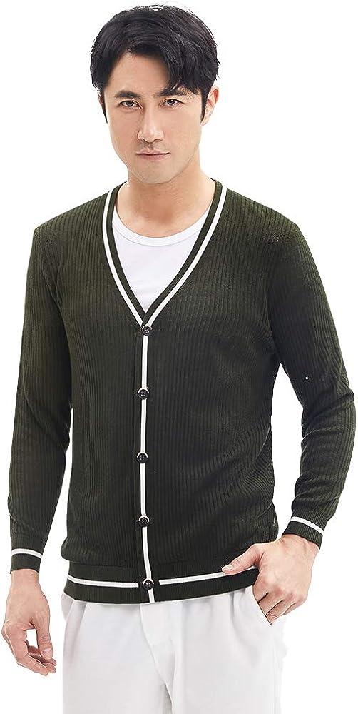Zhili Men's V-Neck Long Sleeve Sweater Cardigan