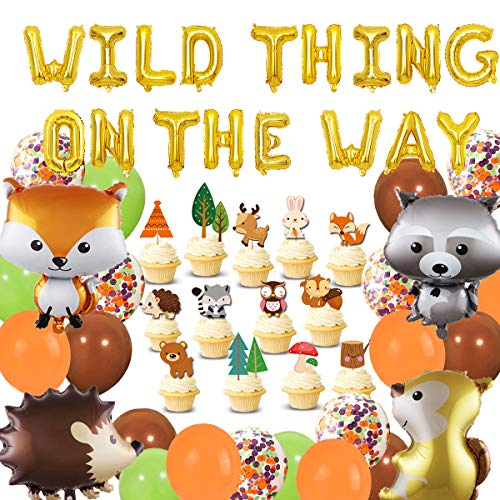 Woodland Birthday Decorations Supplies Wild Thing On The Way Wald Tier Ballons Cupcake Topper