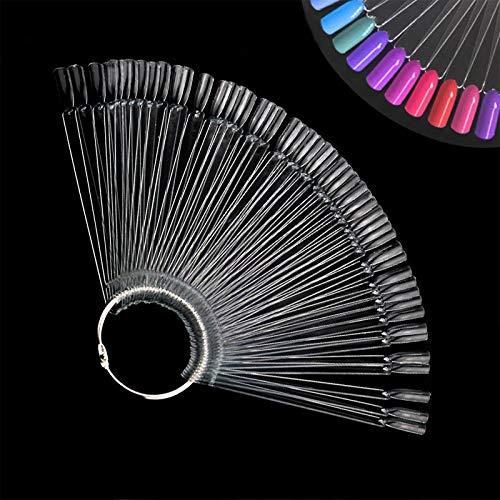 Ealicere 100pcs Espositore per Unghie, Trasparente Ventaglio Display Unghie,Ventilatore Espositore a Ventaglio Falso Nail per Esibire colore Nail