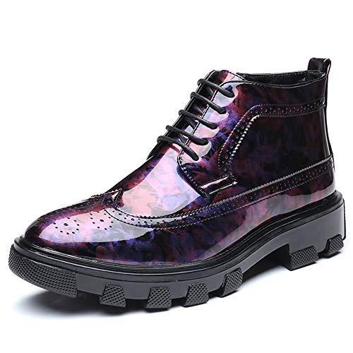 GY-HCJI Nxdj - Botas de tobillo para hombre, estilo informal, antideslizantes, de charol profundo, zapatos convencionales (color: negro, talla: 41 UE)