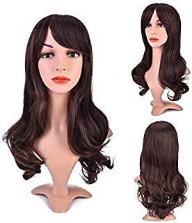 MelodySusie Dark Brown Curly Wig for Women Long Curly Wig with Bang Synthetic Fiber Heat Resistant Daily Use Cosplay Wig with Free Wig Cap, Dark Brown
