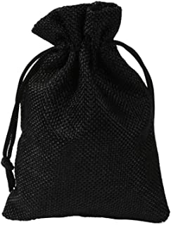 50 Packs Vintage Burlap Bags with Drawstring for Wedding Party Favor Christmas Jewelry Pouches Sacks,Black,20x30cm