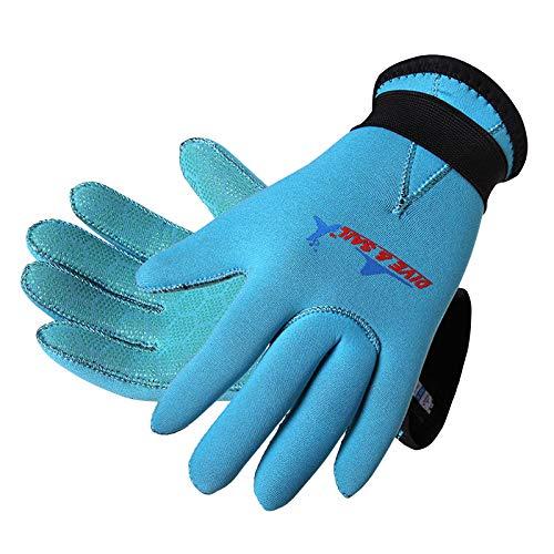 DIVE & SAIL 3mm Kids Neoprene Skid-Proof Wetsuit Gloves for Surf Snorkeling Diving (Blue, M)