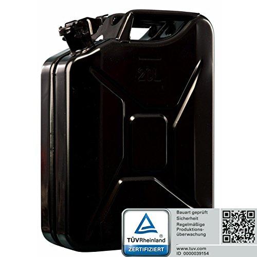 Oxid7® Benzinkanister Kraftstoffkanister Metall 20 Liter Schwarz mit UN-Zulassung - TÜV Rheinland Zertifiziert - Bauart geprüft - für Benzin und Diesel