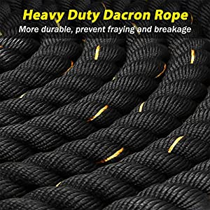 KINGSO Battle Rope 1.5 Inch Heavy Battle Exercise Training Rope 30ft Length Workout Rope 100% Dacron Fitness Rope for Strength Training Home Gym Outdoor Cardio Workout Equipment, Anchor Included
